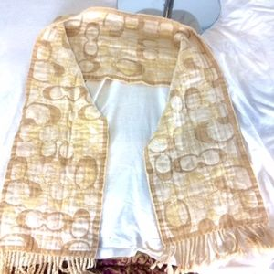 Coach Accessories - New COACH Scarf Tan and Cream
